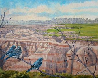 Note Card Bluebirds Blank
