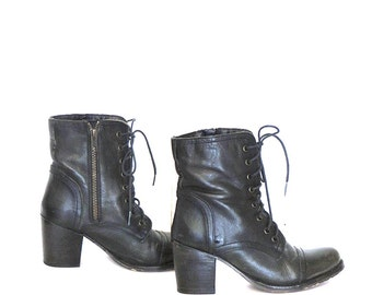 Womens Ankle Boots /BlackLeather Ankle Boots Lace Up Ankle Boots Sz 5.5