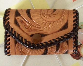 Vintage / Hand-Made Tooled Leather Key Holder / For Six Keys