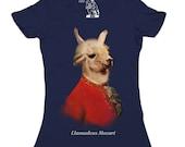 Women's Llamadeus T-shirt, Llama Scoop Top, Mozart, Amadeus, Llamas, Alpaca tee, Womens Tshirt, Gift for her, girlfriend, wife, Sizes S-2XL
