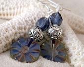 Women's Earrings - Dangle Earrings - Blue Earrings - Beaded Earrings - Montana Blue and Pale Opal Blue Earrings - Montana Blue Earrings