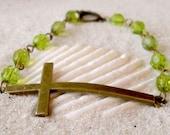 Glass Bead Bracelet - Sideways Cross Connector Charm Bracelet - Olivine Glass Bead Cross Bracelet - Green Glass Bracelet - Christian Cross