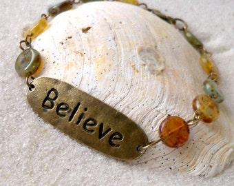 """Bead Bracelet - """"Believe"""" Bracelet - Women's Bracelet - Antique Brass Beaded Bracelet - Antique Brass """"Believe"""" Connector Charm Bracelet"""
