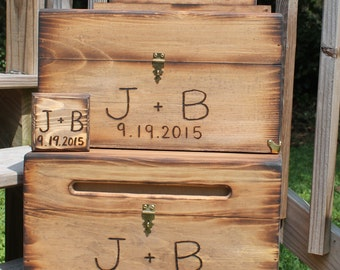 Rustic Wedding Box Set Card Wine Ceremony Ring Bearer Keepsake Wood burned Personalized Custom Country Barn style wooden Bride groom initial