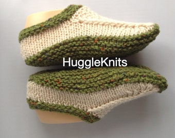 Ladies Handmade Irish Aran Slippers - wool and alpaca - original design - non-slip soles not included