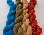 Clay Orange Moss Green Turquoise Mini Skeins Yarn-Bright Earth-Custom Dye Order
