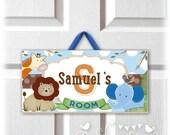 back2school SALE JUNGLE Safari Animals Wooden DOOR Sign Hanger door hanger | kids wood door plaque | room or nursery decor | childrens wall