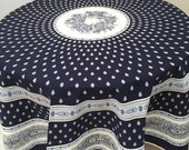 """Blue Floral Tablecloth, French Country Tablecloth, 70"""" Round Tablecloth, Avignon White on Blue"""