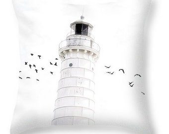 Off to the Lighthouse - Throw Pillow