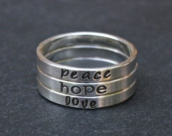 Hand Stamped Sterling Silver Name Ring