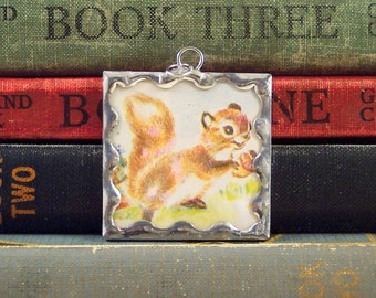 Squirrel Pendant - Squirrel Holding Acorn Charm - Soldered Glass Pendant - Fall Woodland Animal - Vintage Book Illustration Necklace