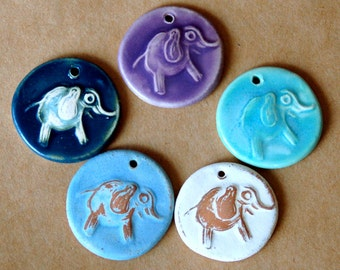 5 Handmade Elephant Beads - Ceramic beads with a Charming Elephant