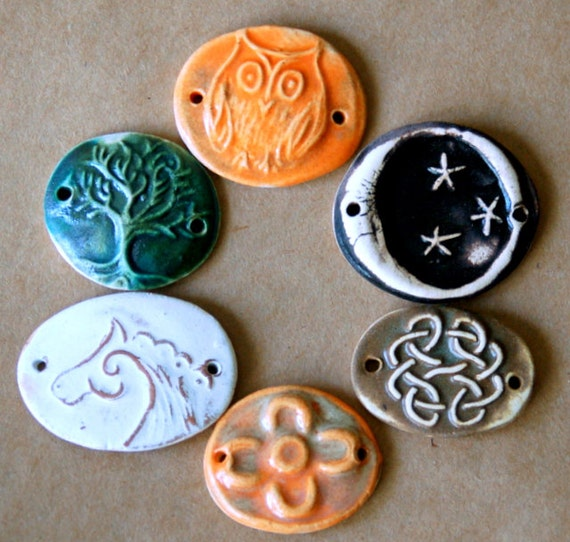 6 Handmade Ceramic Beads - Sweet Set of Bracelet Beads with Rustic designs, Horse, Tree of Life and Owl