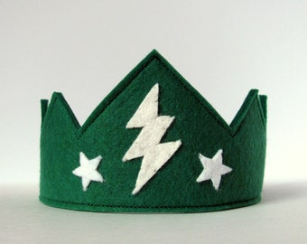 Wool Felt Crown -- green with lightening and stars