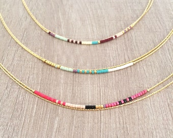 Minimalist Delicate Gold Double Necklace with Tiny Beads // Thin Layering Boho Necklace // Colorful & Simple Necklace
