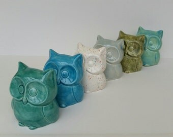 Owl Bank Small Ceramic Aqua Home Decor Nursery Birthday Gift Price is for one