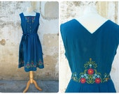 Vintage dirndl Oktober Fest dress German blue floral folk embroidered /size M/L