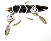 Gauged Thread Through Spiral and Feather Earrings