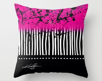 """Pink, Black, Pillow, Graphic Pillow, """"Artsy Noise"""" Original abstract art painting by Kathy Morton Stanion  EBSQ"""