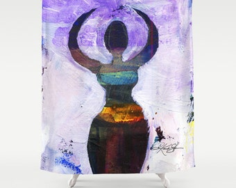 Moon Goddess No. 1... Shower Curtain from Original abstract Colorful Goddess Wicca art painting by Kathy Morton Stanion  EBSQ