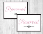 Printable 5x7 Wedding Reserved Table Signs in Black and White and Light Pink - Instant Digital Download - Flat or Tent Folded