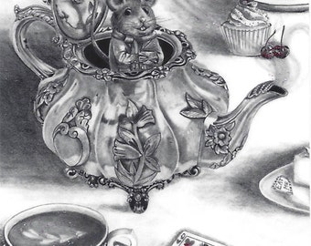 Dormouse ACEO Mouse Aceo Alice in Wonderland ACEO ATC Fantasy Art Victorian Teapot