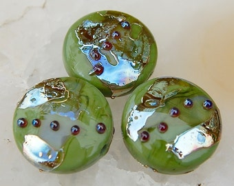 3 Olive Green Spree Lentils with golden metallic dots and shards , glass beads by Beadfairy Lampwork, SRA