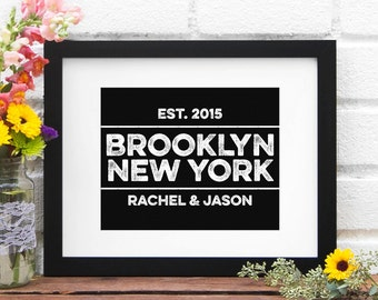 Personalized City Name Retro Label Design - Wedding Decor Personalized Engagement Gift City Home Decor Guestbook - ANY City or Hometown