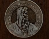 Swiss 5 Franc Hobo Nickel style carving Skeleton skull death