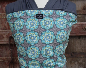 SUPER LIGHTWEIGHT Baby Sling Wrap Carrier-ORGANIC BAMBoO-Floral Burst on Gray-Newborn to Toddler-DvD Included