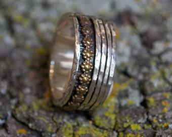 Floral spinner ring, two tones meditation band, silver gold ring, Boho chic ring, wedding band set, unisex - You'll be in my heart. R1738AG