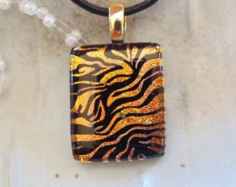 Dichroic Pendant, Necklace, Glass Jewelry, Gold, Black, Necklace Included