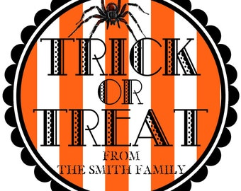Trick or Treat Halloween Stickers, Striped halloween stickers, Spider Stickers,Retro Halloween stickers, Halloween Candy labels, set of 12