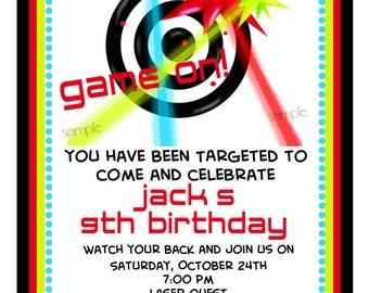 Laser Tag Invitations, Laser tag Birthday Party,  Laser tag invites, girls, boys, Gaming invitations, Tag