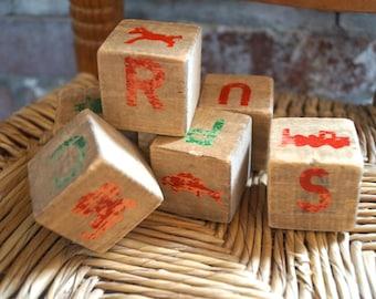 Old Blocks Vintage - Nursery - creative - wood block - mixed media