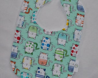 Mint Cats Chenille Boutique Bib