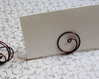 Small Placecard Holder - Brown Wire - Place Card Seating - Swirl (set of 10)