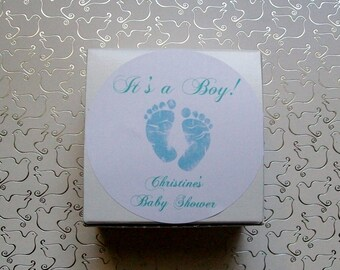 Baby Shower Favor Box, Boxes, Candy Buffet, Personalized BABY FEET in Blue, Its a Boy (set of 10)