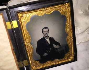 Victorian Tin-type Photo with Wood Frame Case