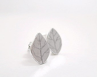 Leaf studs, Sterling Silver earrings, small leaves, Nature inspired jewelry