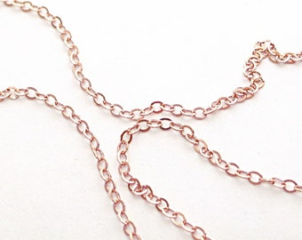 Rose gold necklace,  gold filled cable chain