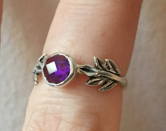 Rose-Cut Amethyst and Sterling Silver- The Fire Leaf Ring