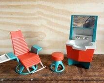 RAD 60s BEAUTY SALON Toys Benny Brite Dental Office Decor Red Blue Toy Furniture Design