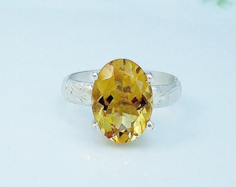 Citrine solitaire, Sterling silver ring, size 8.25, November birth stone