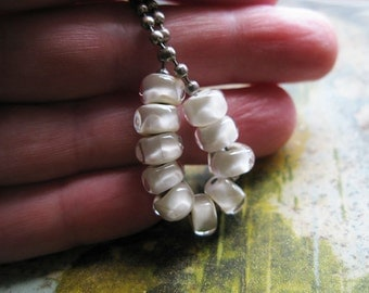dainty ivory nuggets with facets  Handmade Glass Bead Set  Ellen Dooley  SRA (10)