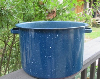 Vintage Blue Spatterware Pot - Blue Enamelware Pot - Soup Pot Planter