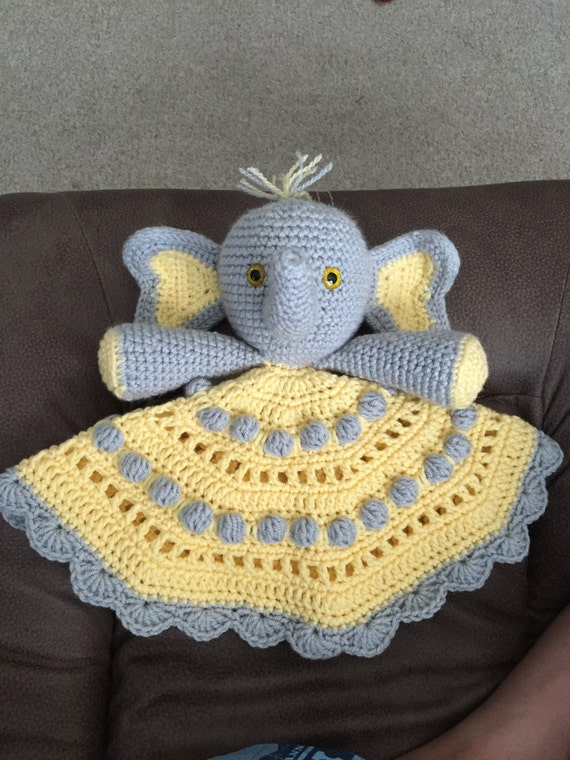 Crochet Elephant Blanket : Peanuts Lovey Hand Crocheted Elephant Lovey Blanket