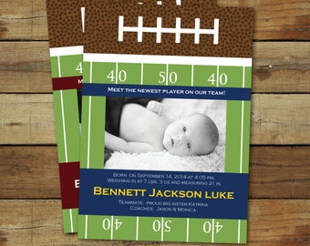 Football Birth Announcement, photo football baby announcement, customized in team colors, baby boy birth announcement