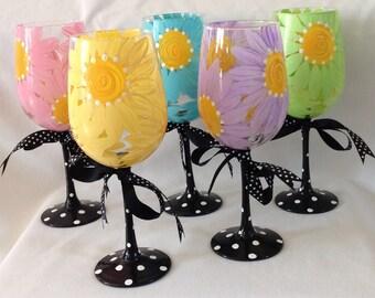 Daisy Wine Glasses- Set of 6