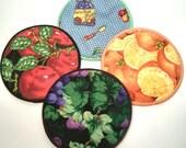 Garden Fruits cloth Coaster Set of 4    Set # 3
